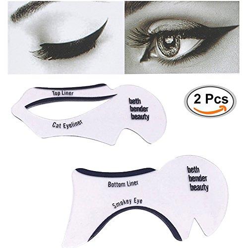 Eyeliner Schablone,Eyeliner Shaper Stencil Schablone,2 in 1 Schablonen für Katze Eyeliner und Smokey Augen Make-up Werkzeug Schablone für die perfekte Lidstrich und ein makelloses Augen-Make-up