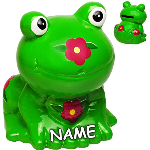 alles-meine.de GmbH Spardose - Frosch mit Blume - inkl. Name - aus Porzellan / Keramik - 9,5 cm - Sparschwein - für Kinder & Erwachsene - stabile Sparbüchse Kinderspardose / groß.. -
