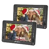 Pumpkin Lecteur DVD Portable Voiture Double Ecrans d'Appuie-tête 10,1 Pouce (Deux Lecteurs DVD) Autonomie de 5 Heures supporte USB SD MMC avec Etui de Montage