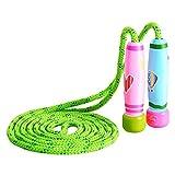 KONVINIT Springseile Kinder Damen Springseile Verstellbare mit Bunten Holzgriff und Baumwolle Seil für Workout, Fitness un Training,Rosa