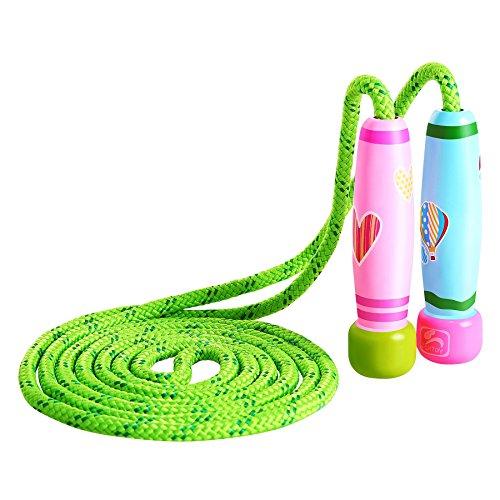 KONVINIT Springseil Kinder Damen Springseil Verstellbare mit Bunten Holzgriff und Baumwolle Seil für Workout, Fitness un Training,Rosa