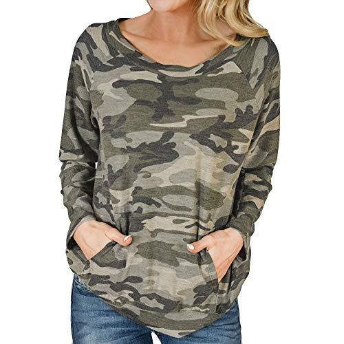 FEIXIANG Mode Frauen Damen Kurze ärmel t - Shirt mit Tasche Bluse Tarn Hemd (XL, Z/Grau)