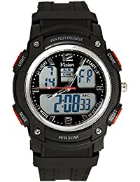Vizion Black Dial Analog-Digital Dual Time Yellow-Side Watch For Men-8018609AD-4