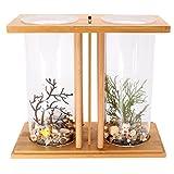 dDanke Kit de acuario de 360 grados para peces con jarrón de cristal dual y estante de bambú para...