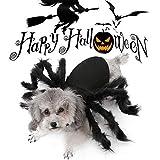 Keepwin Ropa para Mascotas Holloween Navidad Disfraz de Perro o Gato Traje de Fiesta Transformación de Araña Sueter para Perro Gato (Negro)