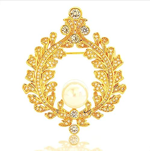 zoyolo Brosche Original Frauen Mädchen Pearl Leaf Broschen Gold Farbe Shiny Zirkon Classic Female Schmuck Kleidung Zubehör Brosche Pins