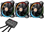 Thermaltake CL-F042-PL12SW-B Ventole Case, Pacco da 3 Pezzi Ring, LED 256 Colori, 120 mm e Smart Ctrl, Multicolore