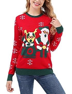 Dromild Mujer Cuello Redondo Reno pingüino Santa Ugly suéteres de Navidad Punto Jerseys