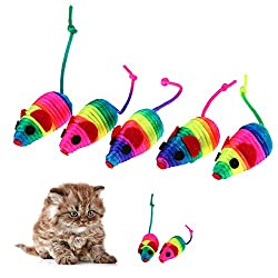 Rrimin 5pcs Colorful False Mouse Pet Cat Toys Squeaker Sound Toy Mini Playing Toy