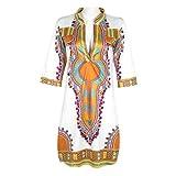 Rcool Neu gedruckt nationalen Sommer lässig tiefem V-Ausschnitt traditionelle afrikanische Party Kleider Weiß für Damen Frauen (XL)