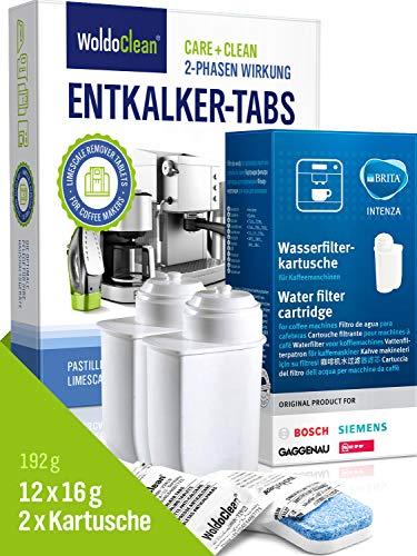 Siemens - Juego de filtros de agua y pastillas descalcificadoras para cafeteras automáticas 2x Wasserfilter...