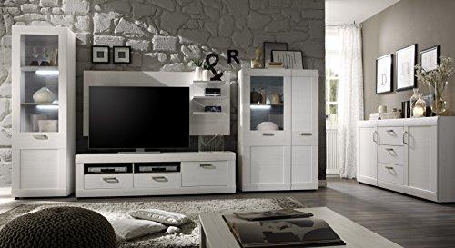 trendteam LL96157 Wohnwand Wohnzimmerschrank Landhausstil weiss Pinie Struktur, Absetzungen Pinie dunkel, BxHxT 330x195x47 cm - 7
