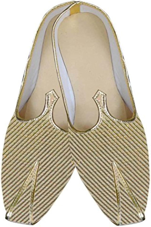 INMONARCH Hombres Dorado Brocado Novio Zapatos MJ0023
