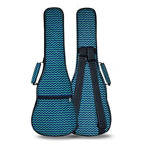 zealux® Bunte Verstellbarer Schultergurt 10mm Schwamm Fill Ukulele Fall Tasche & Ukulele Fall 26 in Green-Stripe