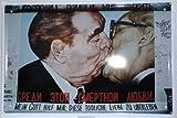 Blechschild Bruderkuss Erich Honecker 20 x 30cm Reklame Retro Blech 335