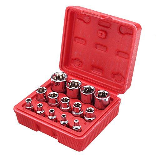 ChaRLes 14Pcs 1/4 3/8 1/2 Zoll Treiber Sockel E Torx Stern Bit Socket Mit Box -