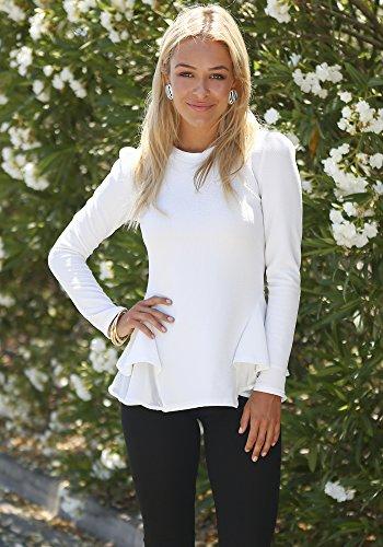 Lookbook Store® Damen Langärmliges Weißes Oberteil Bluse mit Schößchen und Rüschen Einfarbig Weiß
