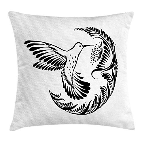 VVIANS Black and White Throw Pillow Cushion Cover, Monochrome Hummingbird Tattoo Art Style Blooming Flowers and Foliage, Decorative Square Accent Pillow Case, 18 X 18 inches, Black and White