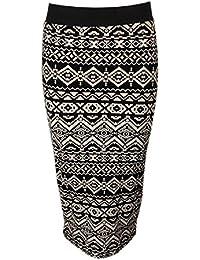 Home of Fashion Black and Mocha Aztec Print Bodycon Midi Pencil Skirt