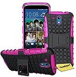 HTC Desire 526G Handy Tasche, FoneExpert® Hülle Abdeckung Cover schutzhülle Tough Strong Rugged Shock Proof Heavy Duty Case für HTC Desire 526G + Displayschutzfolie (Rosa)