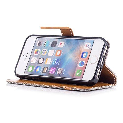 Apple iPhone SE 5 5S Hülle, SATURCASE Prämie Jeans Stil PU Lederhülle Ledertasche Magnetverschluss Flip Cover Brieftasche Case Handy Tasche Schutzhülle Handyhülle mit Standfunktion Kartenfächer und Ha Grau