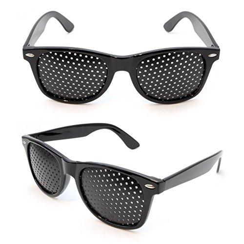 2er SET Rasterbrille / Lochbrille für Augentraining zur Entspannung, Gitterbrille mit faltbaren Bügeln, Form B, Farbe: Schwarz - Marke Ganzoo -