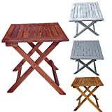 Promafit Table d appoint Pliable en Bois Dionysos - Table Basse Pliante en Bois - Tables Jardin d'appoint - Bois d'eucalyptus - pilant - 4 Couleurs - résistant aux intempéries (Brun Sombre)