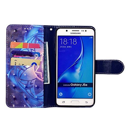 Coque Galaxy J5 2016, Etui pour Samsung Galaxy J5 2016, ISAKEN Bling Strass Cristal PU Cuir Flip Magnétique Portefeuille Etui Housse de Protection Coque Étui Case Cover avec Stand Support et Carte de  Mandala bleu