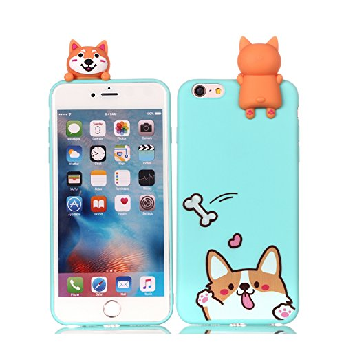 iPhone 6S Plus Xmas Hülle, HUDDU Blau Handyhülle Transparente Weihnachten Schutzhülle TPU Silikon Back Cover Dünn Protective Case 3D Karikatur Christmas Apple iPhone 6 Plus/6S Plus - Keji Hund -