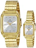 Titan NH15812488YM04 Quartz White Rectangle Couple Watch (NH15812488YM04)