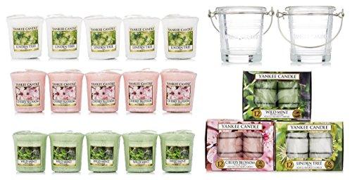 comprare on line Yankee Candle, set con 53candeline originali con profumazioni essenziali e porta candele prezzo
