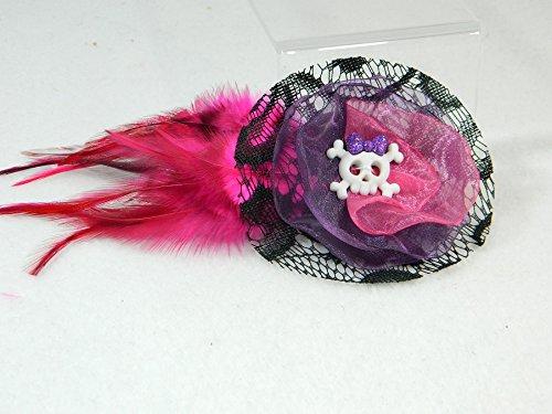 Halloween Haarclip pink lila Skull Fascinator Kopfschmuck Haarspange Haarschmuck Clip Clipp
