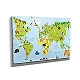 Nerdinger Weltkarte Tiere - Kunstdruck auf Leinwand (90x60 cm) zum Verschönern Ihrer Wohnung. Verschiedene Formate auf Echtholzrahmen. Höchste Qualität.