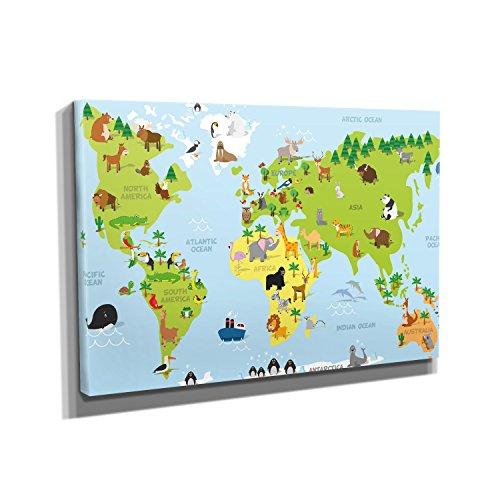 Weltkarte Tiere - Kunstdruck auf Leinwand (90x60 cm) zum Verschönern Ihrer Wohnung. Verschiedene Formate auf Echtholzrahmen. Höchste (Kostüme Ideen Wildes Tier)