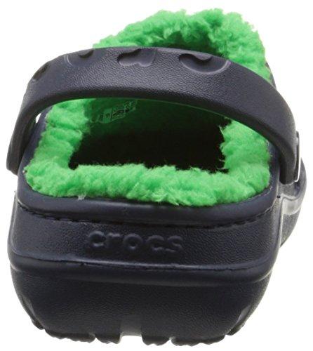 Crocs Hilo Lined Clo, Sabots Mixte Enfant Bleu (Navy/Grass Green)
