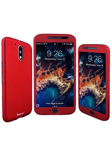 CEDO iPaky Style 360 Degree Full Body Protection Front and Back Case Cover with Tempered Glass for Motorola Moto G4/ G Plus 4th Generation (Red)