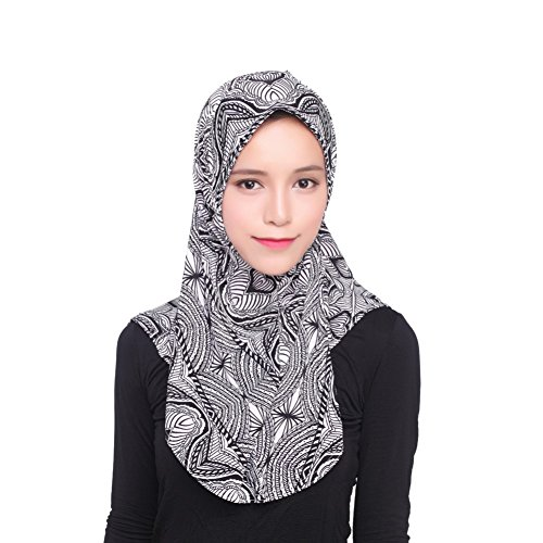 iShine Damen Turban-Hut Muslimin Hijab Umhang Islamische Kopftuch Kopfbedeckung Schultern Abdecken Einfarbige Klassisch Stil Turban Haube für Frauen Mädchen Profil Schwarz (Afrikanische Frauen Hüte Für)