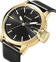 Curren 8208 Leather Strap Analog Dial Men Wristwatch Alloy Case Quartz Watch