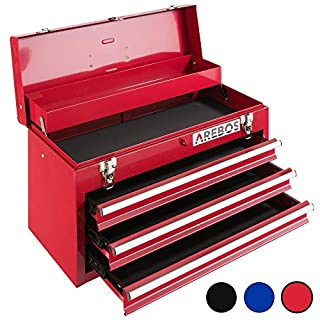 Arebos Tool Box 3 Drawers Red