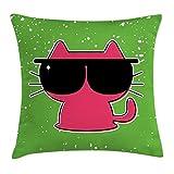Proud Clothing Funda de cojín con diseño de gato con gafas de sol Hipster Baby Animal Nursery para niños, funda de almohada decorativa, cuadrada, 45,7 x 45,7 cm, verde lima, rosa y negro