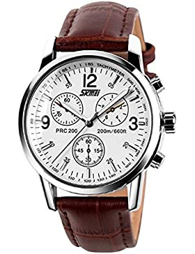 stilvollen braune Lederband Quarz Männer beiläufige Uhr mit arabischen Ziffern wasserdicht guter Weisegeschenkuhr