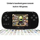 "XinXu Game Handheld Consoles Game Console 2.8"" LCD PVP PLUS Game Player Classic Handheld Game Console 168 Games in 1 Gift for Children (Black)"