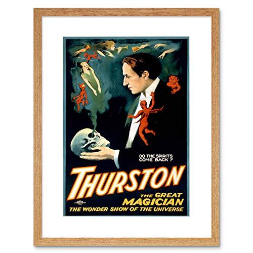 THEATRE STAGE MAGICIAN THURSTON SPIRIT SKULL USA FRAMED ART PRINT MOUNT B12X7794
