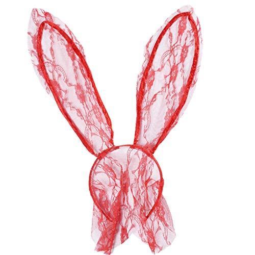 Kostüm Der Für Pferde Ringe Herr - PPWOMEN Haarschmuck - Spitze Transparent Kaninchen Ohr Stirnband Cosplay Party Kostüm Für Erwachsene (Rot, Eine Größe)
