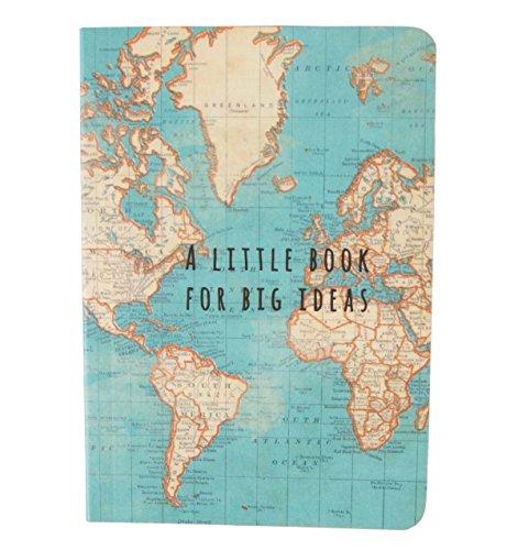 cuaderno de viaje con mapamundi