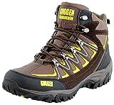 GUGGEN Mountain Bergschuhe Bergstiefel Wanderschuhe Wanderstiefel Mountain Boots Trekkingschuhe mit Echtem Leder, Farbe Braun-Gelb, EU 45