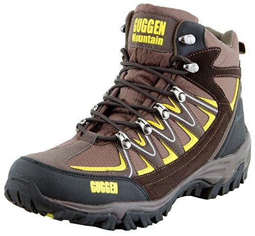 GUGGEN Mountain Bergschuhe Bergstiefel Wanderschuhe Wanderstiefel Mountain Boots Trekkingschuhe mit Echtem Leder, Farbe Braun-Gelb, EU 43