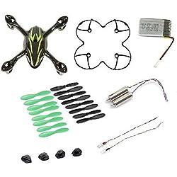 AFUNTA para HUBSAN X4 H107C Quadcopter Negro / Repuestos verdes Crash Pack (Un cuerpo de la cubierta + los pies de protección cubierta + 4 + 4 x goma hojas de repuesto Set + Una batería 380mA repuesto + 2 + 2 Motors llevó la luz)