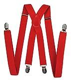 axy Hochwertige Herren Hosenträger breit 2,5 cm mit 4 Starken Clips X-Form und Damen (Rot)