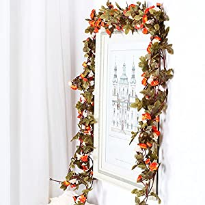 Guirnalda de flores artificiales con hojas verdes, paquete con 3 unidades para decoración del hogar, boda, dos colores…